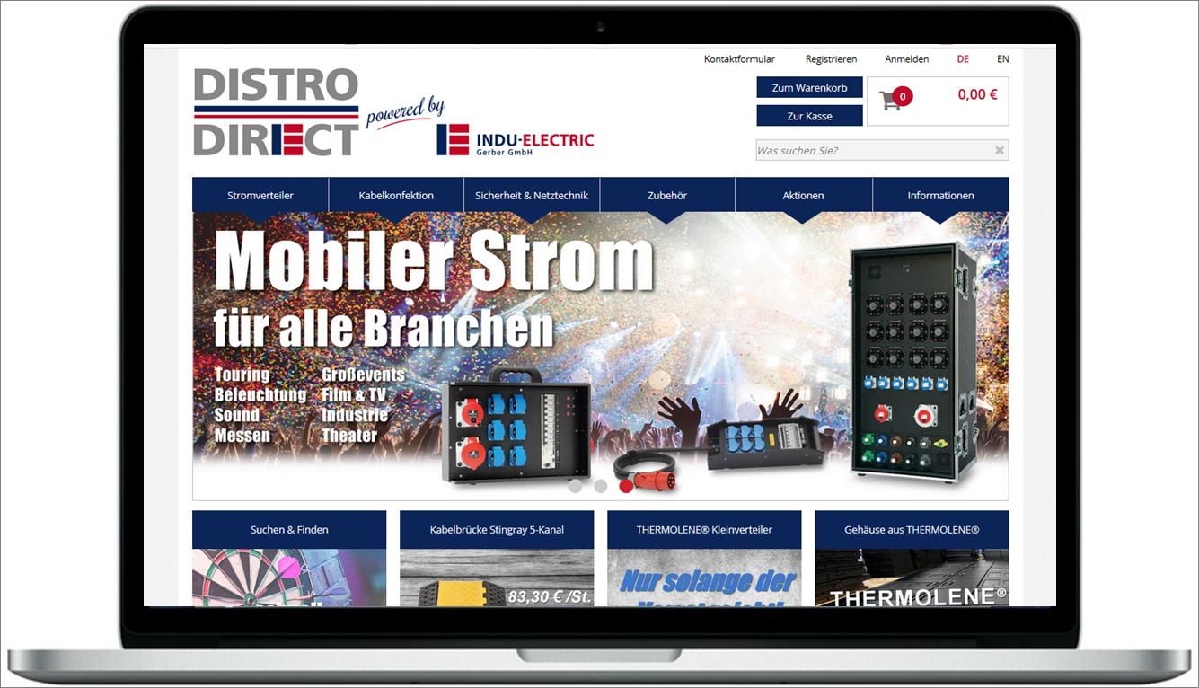 Sie sehen ein Bild des Onlineshops DISTRO-DIRECT powered by INDU-ELECTRIC.