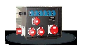 Hier sehen Sie ein Bild der mobilen Stromverteiler der Firma INDU-ELECTRIC