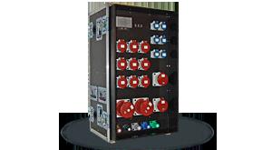 Hier sehen Sie ein Bild eines Hauptstromverteilers im Flightcase der Firma INDU-ELECTRIC