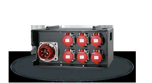 Hier sehen Sie ein Bild eines mobilen stapelbaren Stromverteilers der Firma INDU-ELECTRIC