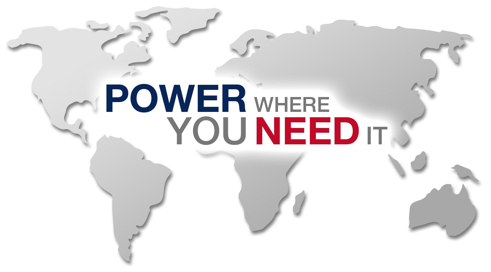 """Sie sehen eine Weltkarte mit dem Schriftzug """"power where you need it."""""""