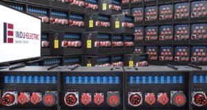 Sie sehen eine Wand aus Stromverteilern von INDU-ELECTRIC.