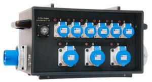 Sie sehen ein Bild von einem stapelbaren mobilen Stromverteiler der Firma INDU-ELECTRIC