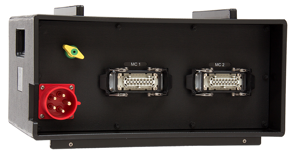 CEE 63A 400V 5 polig Stromverteiler in Kofferform FI 18x Schuko MCB 16A C